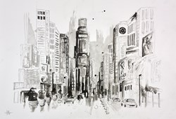 Times Square NYC (sketch) by Anna Gammans - Original Drawing on Mounted Paper sized 16x12 inches. Available from Whitewall Galleries